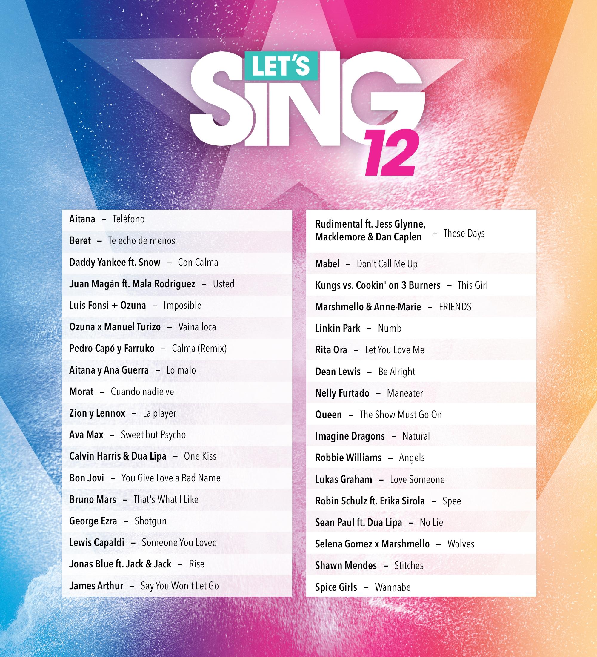 Listado de canciones